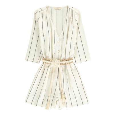 Sessun Taza Striped Linen and Cotton Playsuit-listing