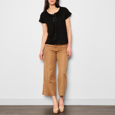 Sessun Douro Lace Up Linen Jersey T-Shirt-product