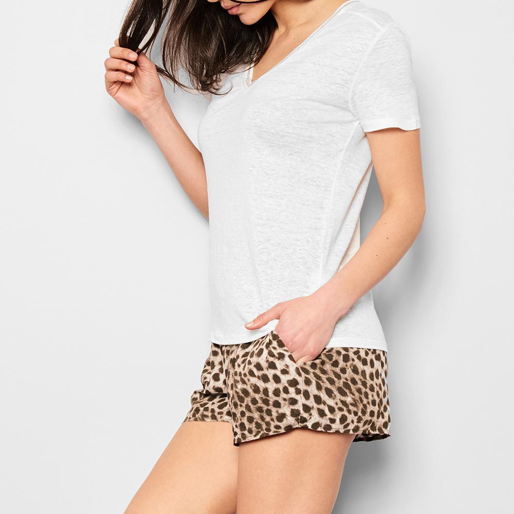Qincy Gold Trim Linen T-Shirt-product