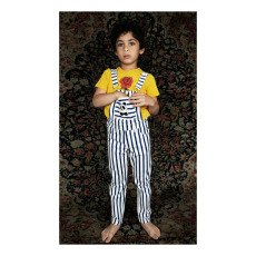 Mini Rodini Organic Cotton Striped Panda Dungarees-listing