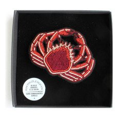 Macon & Lesquoy Hand Embroidered Crab Brooch-listing