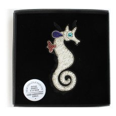 Macon & Lesquoy Hand Embroidered Seahorse Brooch-listing