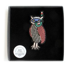 Macon & Lesquoy Hand Embroidered Owl Brooch-listing