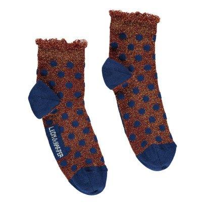 Leon & Harper Peacock Lurex Polka Dot Socks-listing