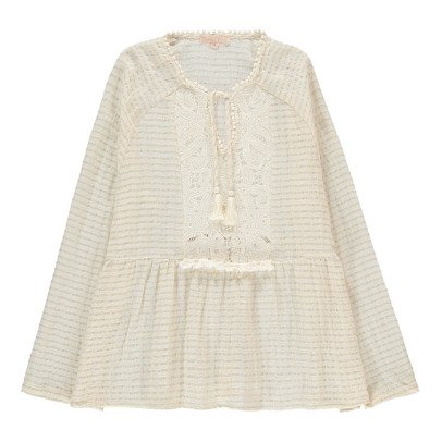 Louise Misha Alcala Lurex Embroidered Stripe Blouse - Women's Collection-product