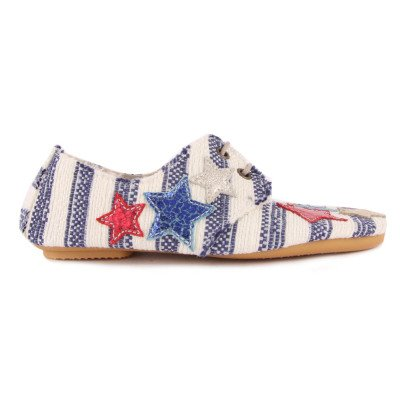 Anniel Star Striped Fabric Derbies-listing