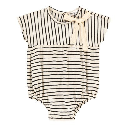 Babe & Tess Bow Striped Romper-listing