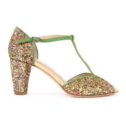 Anniel Glitter and Suede T-Bar Shoes with Heels-listing