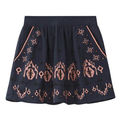 Louise Misha Polka Embroidered Linen and Cotton Skirt - Women's Collection-product