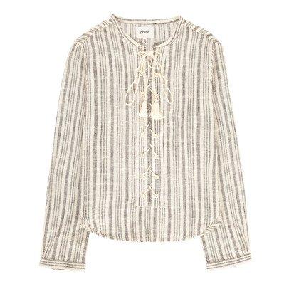 Polder Phoenix Lace Up Striped Blouse-listing