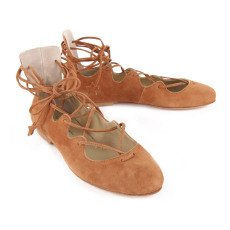 Anniel Sueded Lace-Up Ballerinas-listing