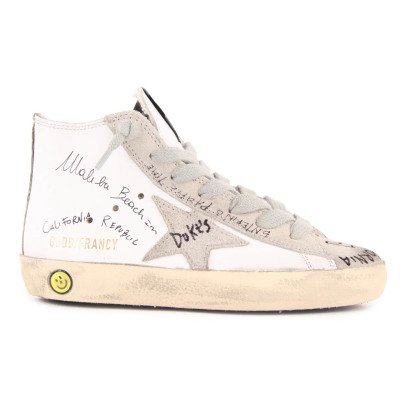 Golden Goose Francy Writing Leather Zip and Lace-Up Trainers-listing