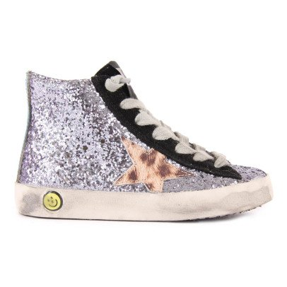 Golden Goose Francy Zip and Lace-Up Glitter Trainers-listing