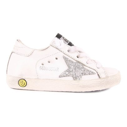 Golden Goose Superstar Glitter Star Lace-Up Leather Trainers-listing