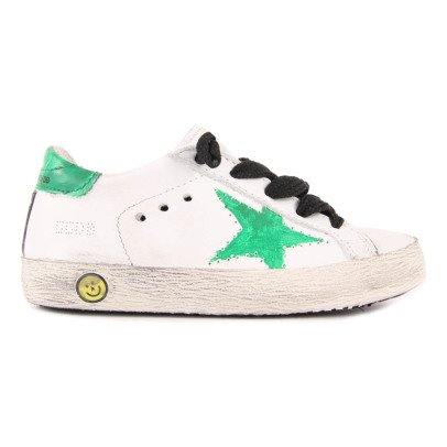 Golden Goose Superstar Green Star Leather Lace-Up Trainers-listing