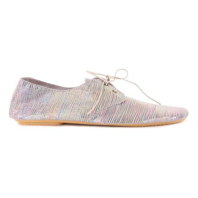 Anniel Iridescent Striped Leather Derbies-listing