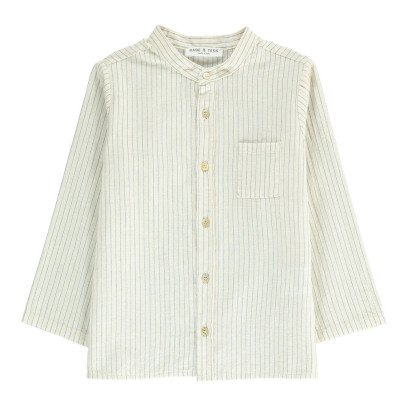 Babe & Tess Striped Mandarin Collar Shirt-listing