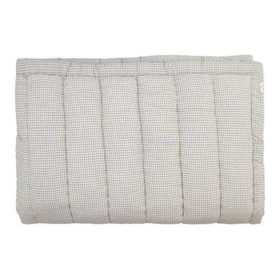 Camomile London Hand Embroidered Quilt Blanket With Small Check Lining-listing