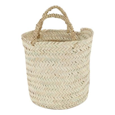 Smallable Home Flat Round Woven Palm Leaf Basket-listing