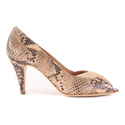 Sessun Tawa Snake Print Open Toe Shoes-listing