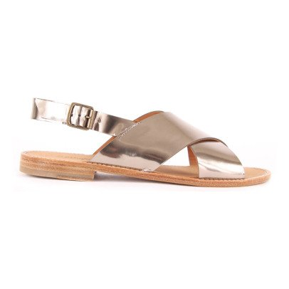Anthology Paris Birmanie Crossed Iridescent Leather Sandals-listing