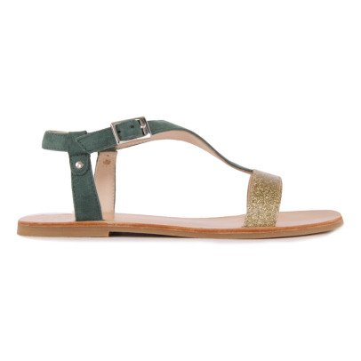 Manuela de Juan  Eolios Glitter Leather and Suede Sandals-listing