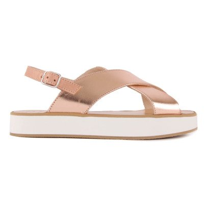 Manuela de Juan  Fabienne Crossed Leather Sandals-listing