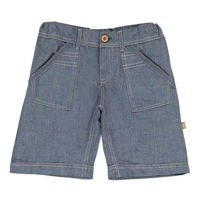 Nui Hone Chambray Striped Organic Cotton Bermuda Shorts-listing