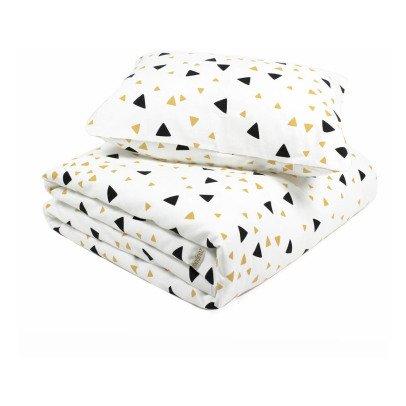Nobodinoz Parure de lit Toronto triangles noir jaune en coton-product