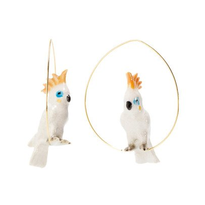 Nach Large Parrot Porcelain Hoop Earrings-listing