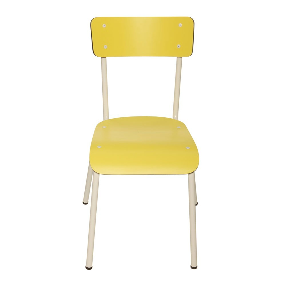 Chaise adulte suzie jaune jaune citron les gambettes design for Chaise jaune design