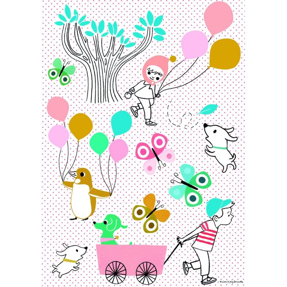 Sticker Petit R Tro Les Ballons Poisson Bulle Design Enfant