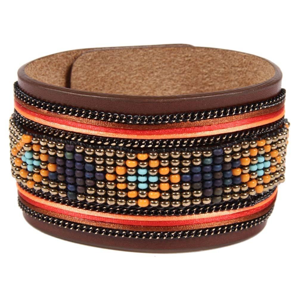 Bracelet en cuir marron apache avec ruban satin et perles orange - Bracelet perle et ruban ...
