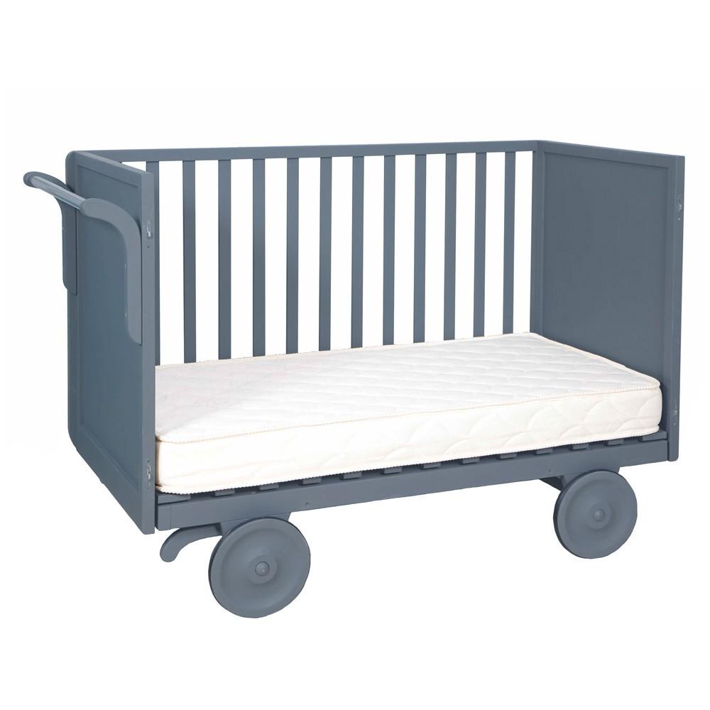 lit volutif roulotte 60x120 cm gris souris laurette design. Black Bedroom Furniture Sets. Home Design Ideas
