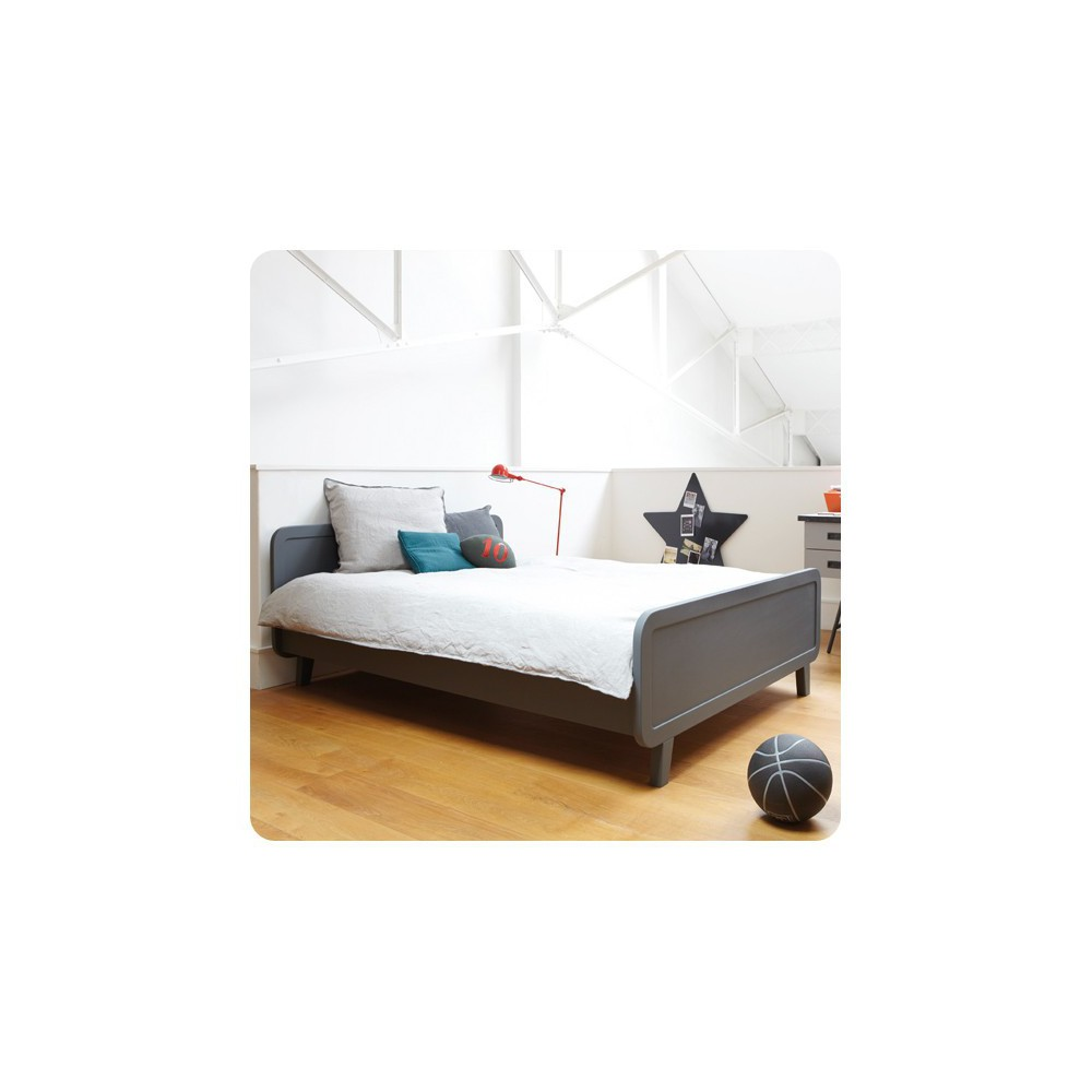 Lit rond 140x200 cm gris fonc laurette design enfant for Lit design 140x200