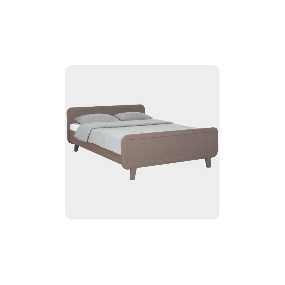 Round bed 140x200cm taupe taupe brown laurette design for Round bed for kids