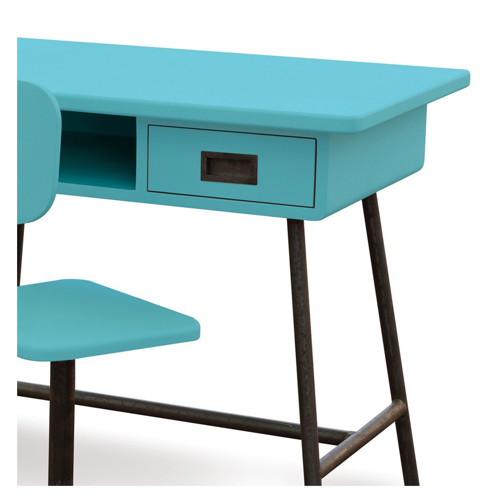 bureau la classe et sa chaise d 39 atelier turquoise laurette. Black Bedroom Furniture Sets. Home Design Ideas