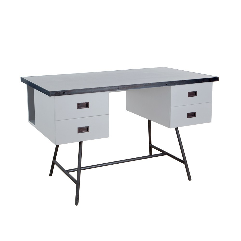 bureau l50 gris clair laurette design adolescent. Black Bedroom Furniture Sets. Home Design Ideas