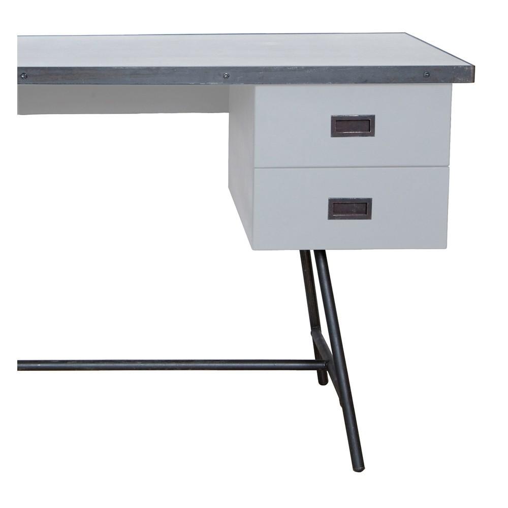 bureau l50 gris clair laurette design adolescent. Black Bedroom Furniture Sets. Home Design Ideas