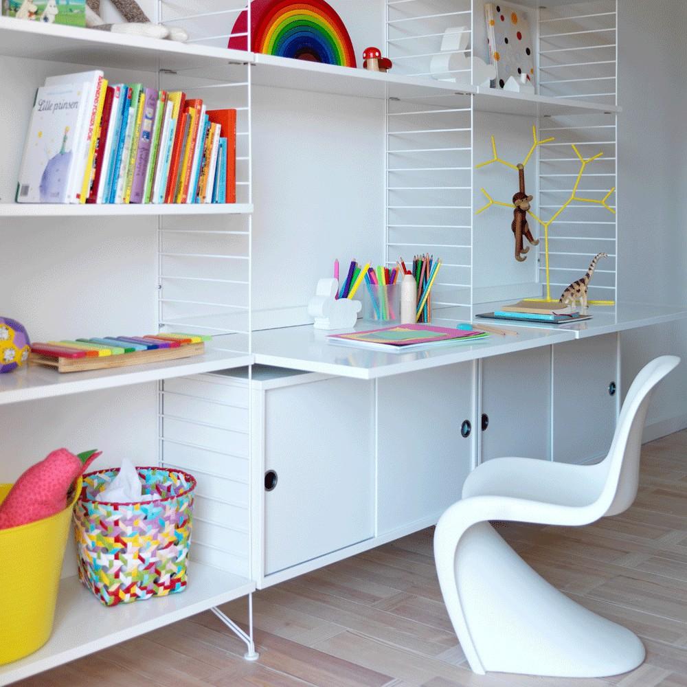 bureau tag res blanc blanc string design enfant. Black Bedroom Furniture Sets. Home Design Ideas