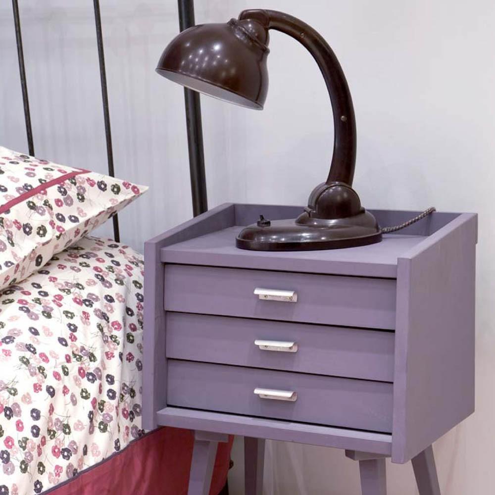 table de chevet des secrets gris clair laurette design. Black Bedroom Furniture Sets. Home Design Ideas