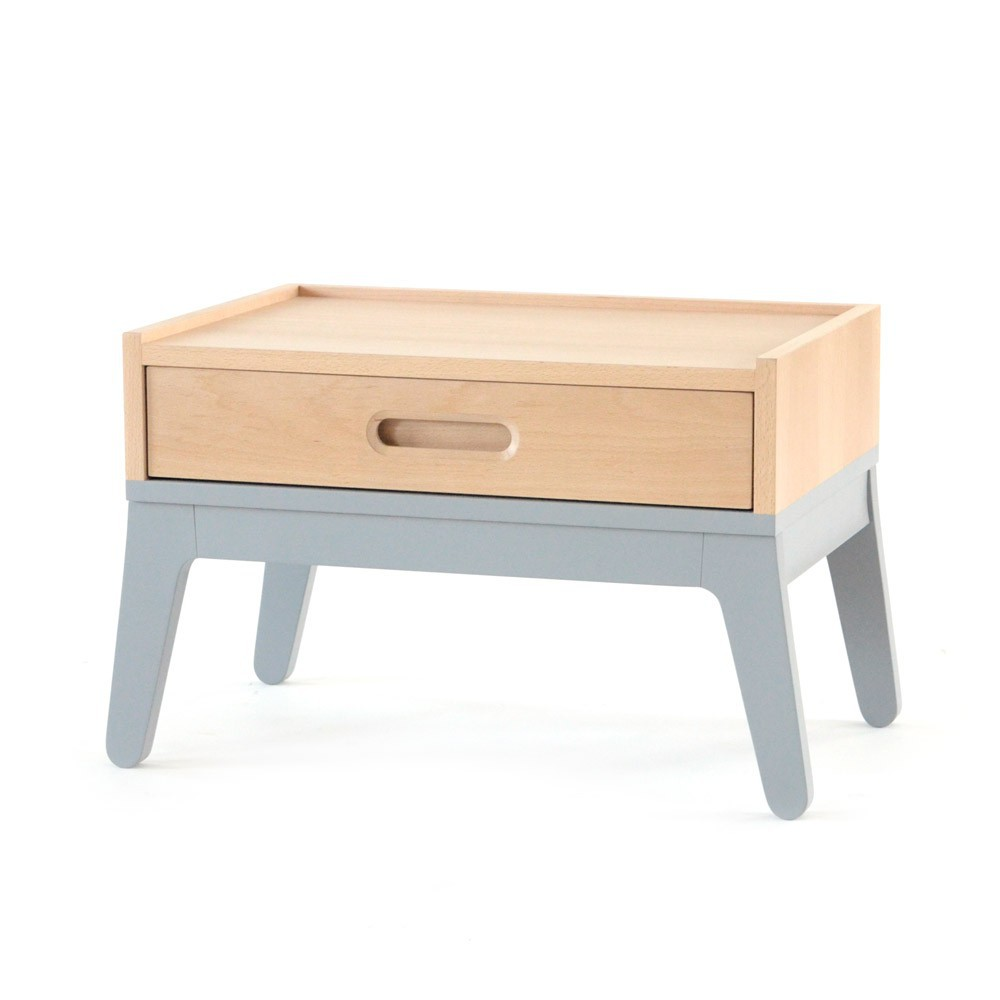 Table de nuit gris nobodinoz design enfant for Table de nuit enfant