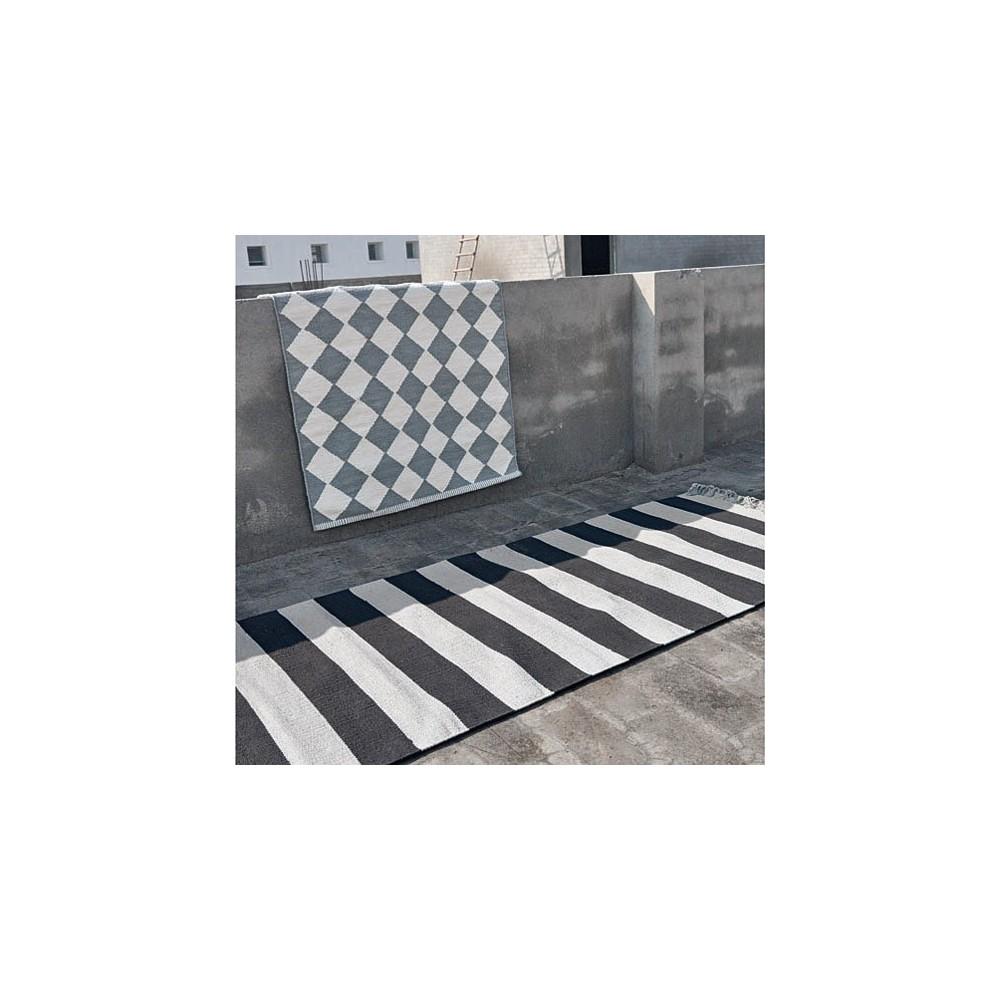 Diamond Teppich aus Baumwolle grau und weiss Liv Interior