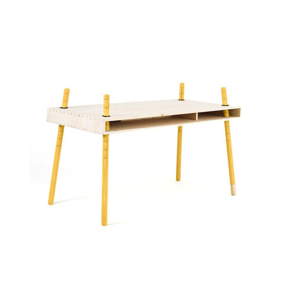 Bureau caspar jaune jaune perludi design enfant for Bureau jaune