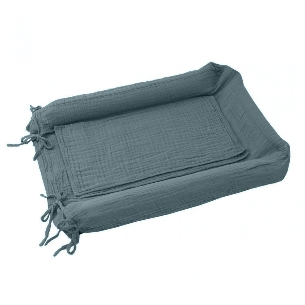 Housse de matelas langer bleu gris numero 74 design b b for Housse a langer