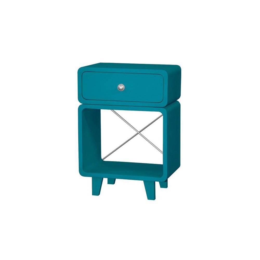 Table de chevet zzz bleu canard laurette design adolescent for Table de chevet bleu