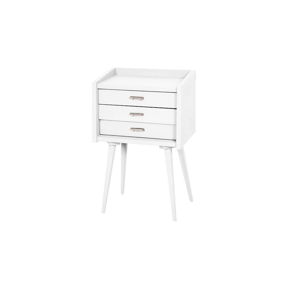 Table de chevet des secrets blanc laurette design adolescent for Mini table de chevet