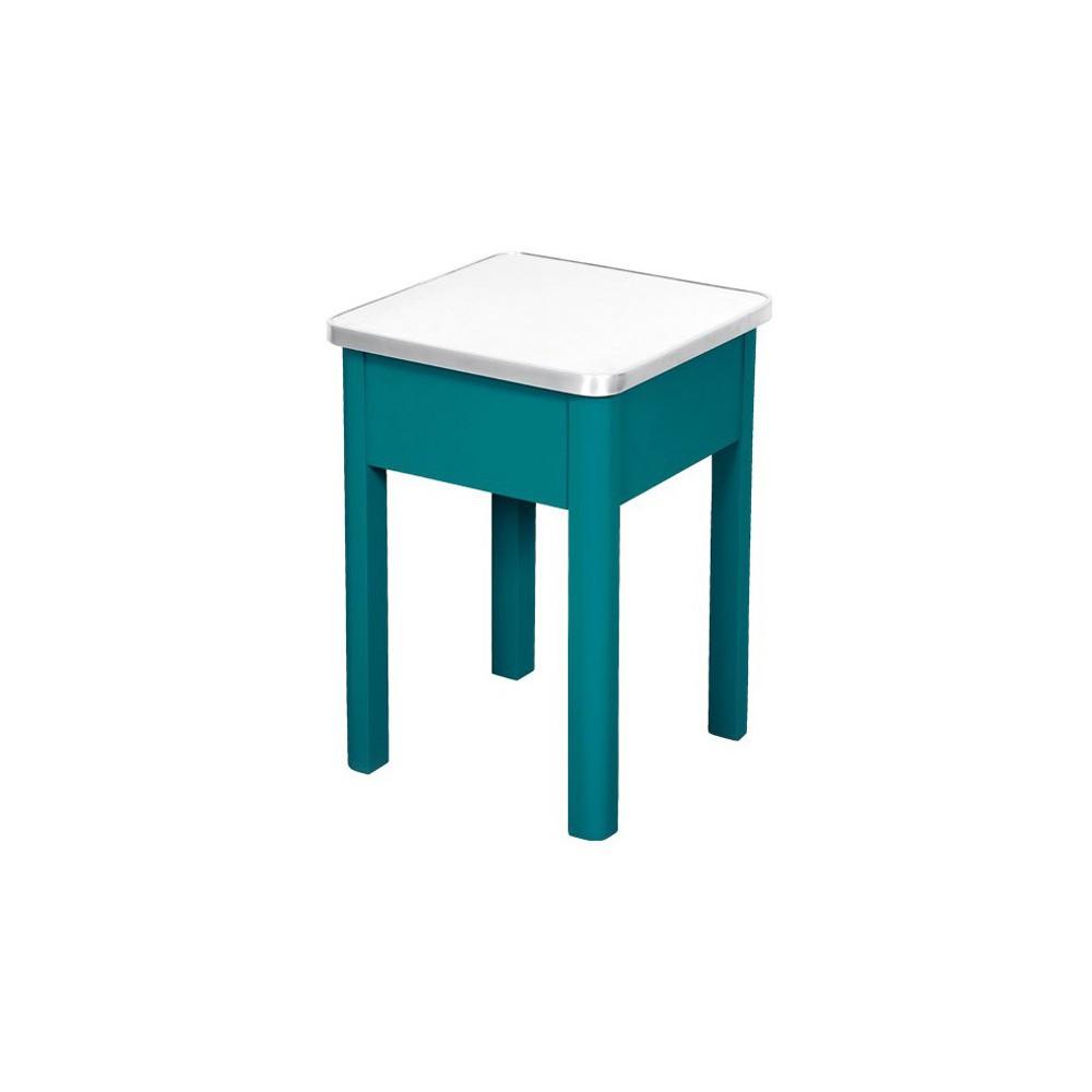 tabouret de cirage aluminium bleu canard laurette design. Black Bedroom Furniture Sets. Home Design Ideas