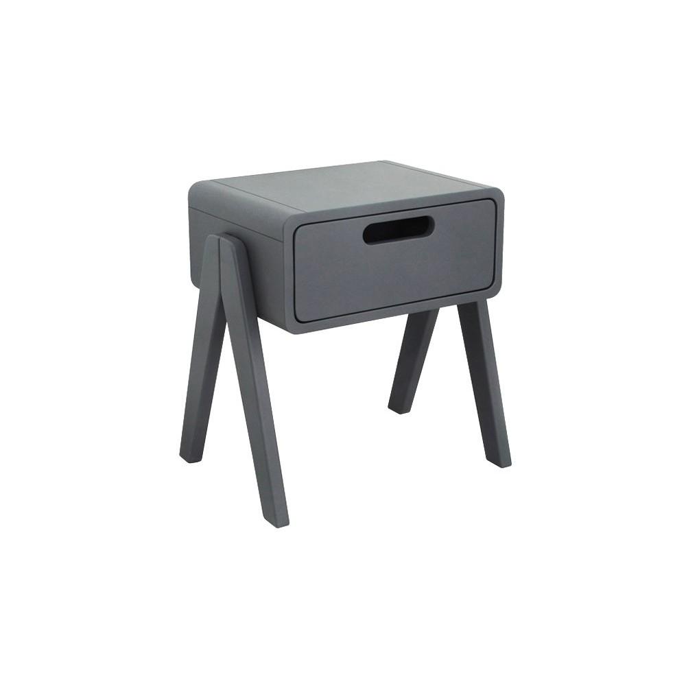 Table de chevet petit robot gris fonc laurette design - Table de chevet enfants ...