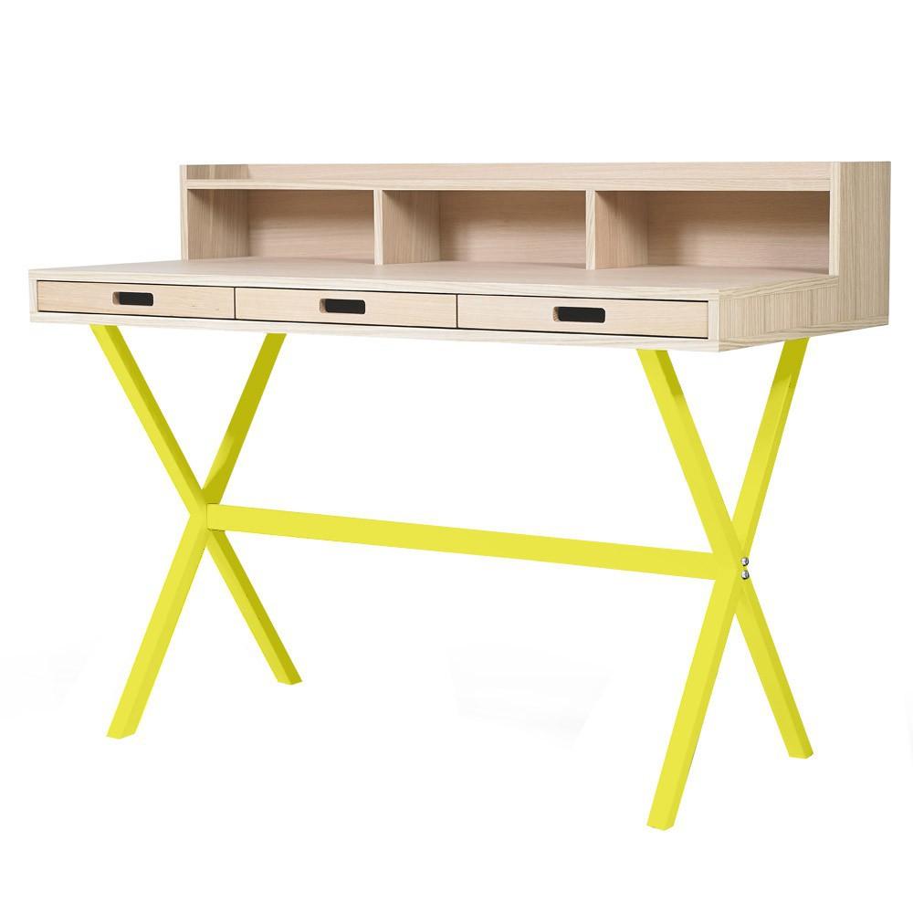 Bureau hyppolite jaune citron hart design enfant for Bureau jaune
